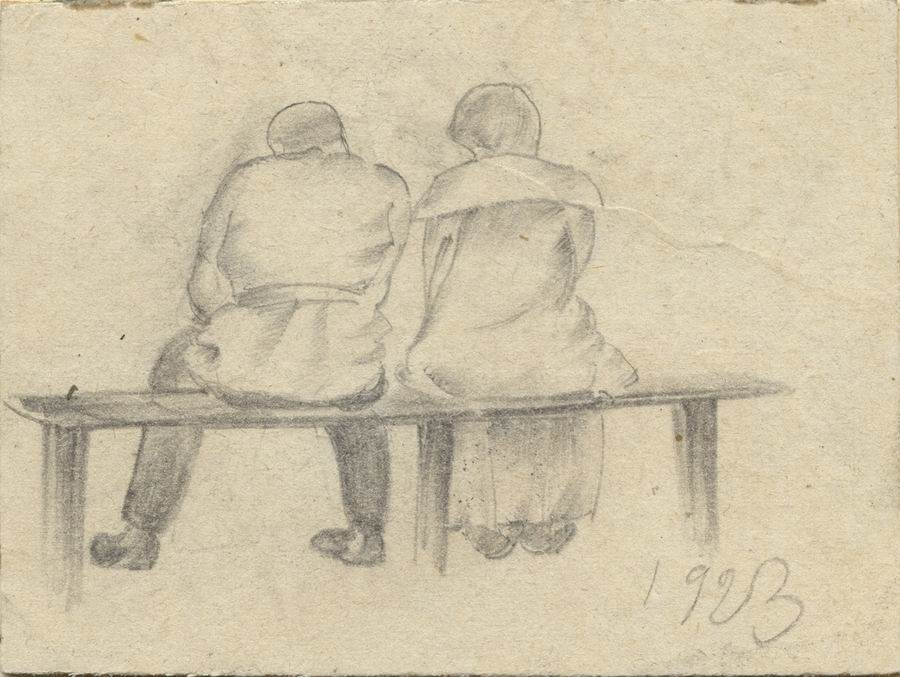 pencil on a cardboard, 6,7x9, Paris 1923