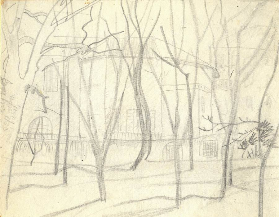 Pencil on cardboard (early period), 16,6x21,2, Paris 1925