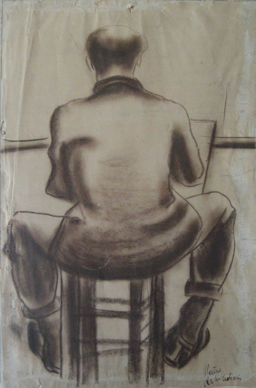 charcoal on cardboard, 37,5X28, Paris 1926