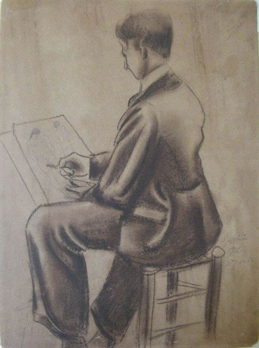 charcoal on cardboard 37,5X28, Paris 1926