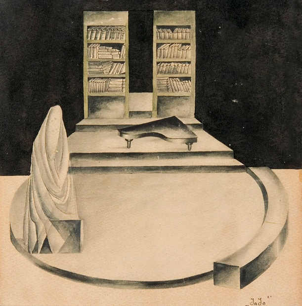 paper, pencil, watercolor, 20X20, II State Academic Drama, 1931 Collection of the Kote Marjanishvili Theatre