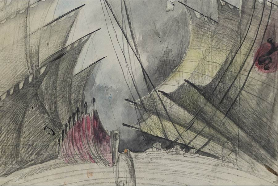 paper, pencil, watercolor, 22x33 1933 State Museum of Drama, Music, Film and Choreography