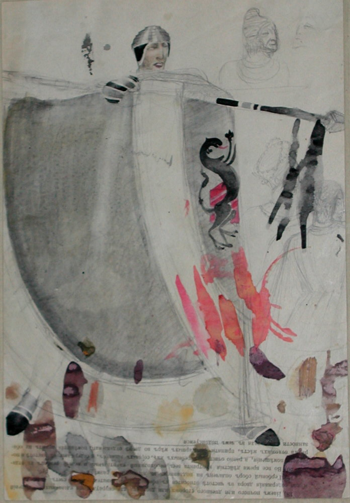 paper, pencil, watercolor, 34x24 1933 State Museum of Drama, Music, Film and Choreography