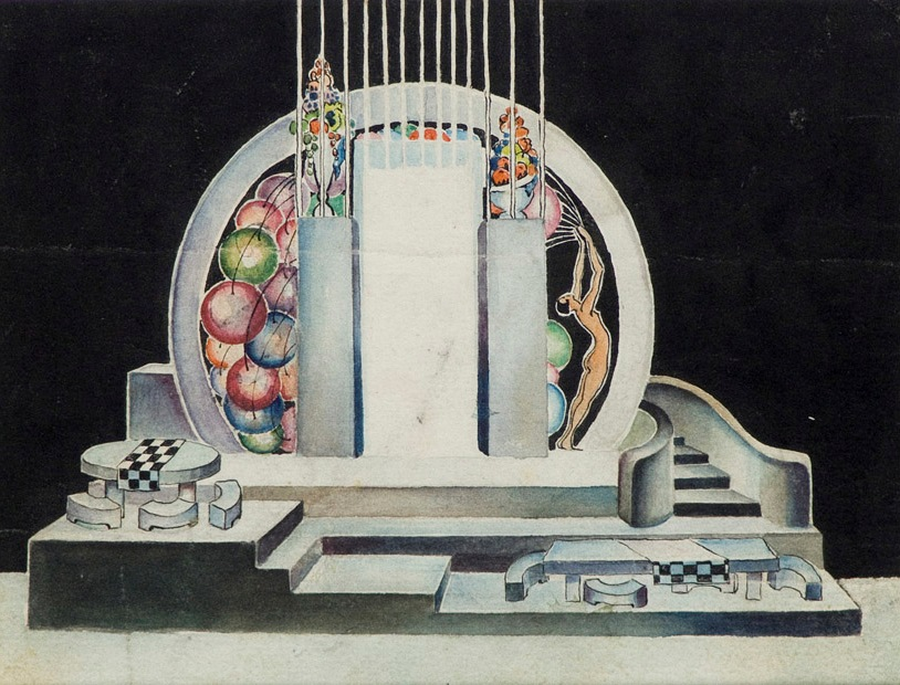 paper, gouache, watercolor,  14X18 1927 State Museum of Drama, Music, Film and Choreography